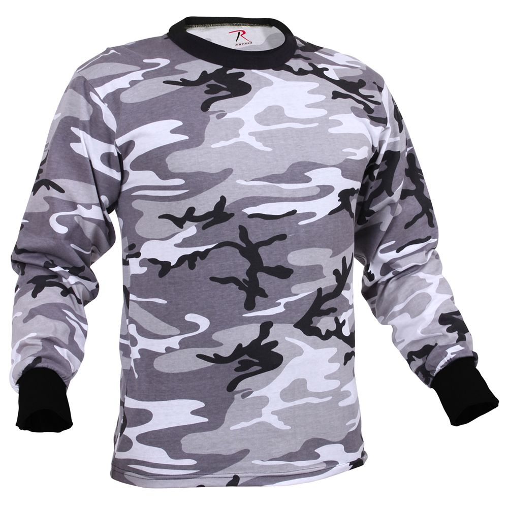 Mens Long Sleeve Camo T Shirt Camouflage Ca