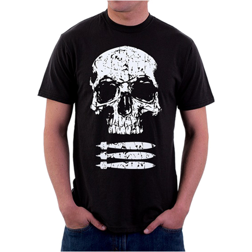 Black Ink Design Skull & Bombs Graphic T-Shirt