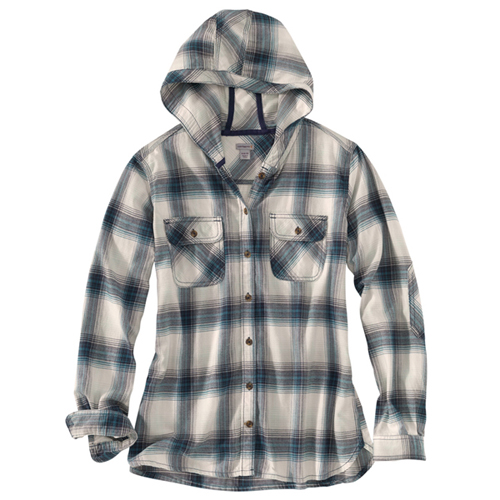 Carhartt Womens Relaxed Fit Belton Hooded Flannel Shirt