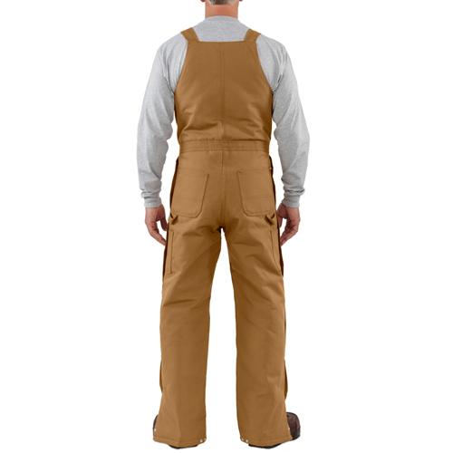 Carhartt Duck Zip to Waist Quilt-Lined Bib Overalls