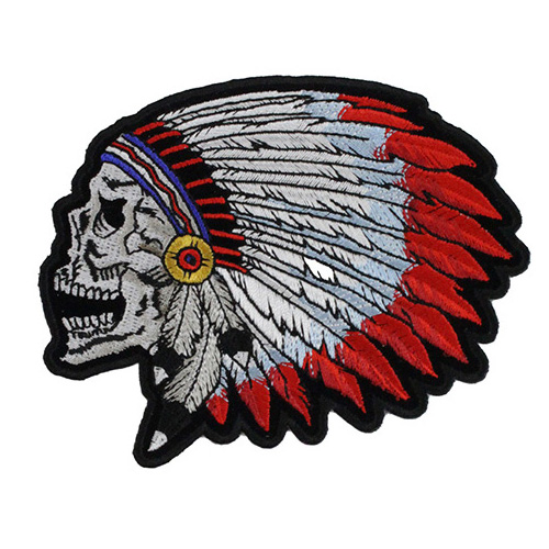 Screaming Indian Skull With Head Dress Small Patch