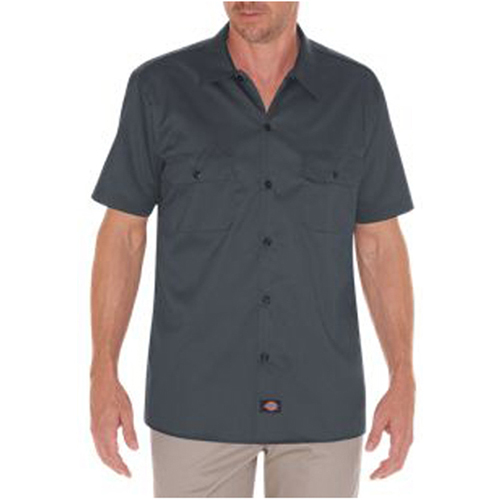 Short Sleeve Slim Fit Twill Work Shirt