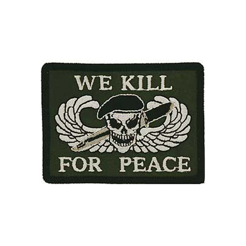 3 1/4 Inch We Kill For Peace Logo Patch