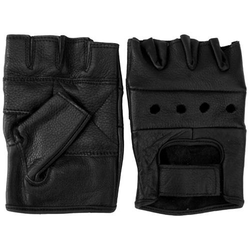 Leather Fingerless Biker Gloves
