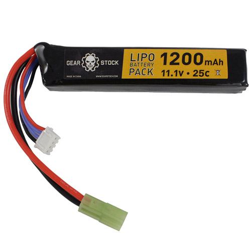 11.1V 1200mAh 25C LiPo Stick Airsoft Battery