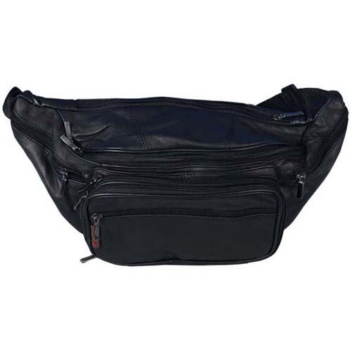 Black Lambskin Leather Belly Pouch