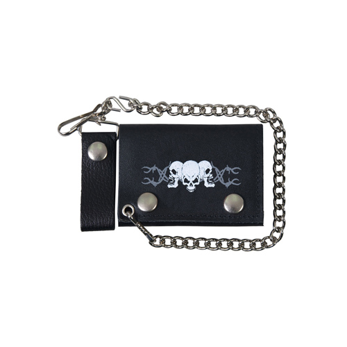 Black Tri-Fold 4 Inch Barbed Wire Skulls Leather Wallet