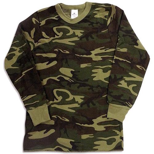 Mens Waffle Knit Cotton Thermal Camo Shirt