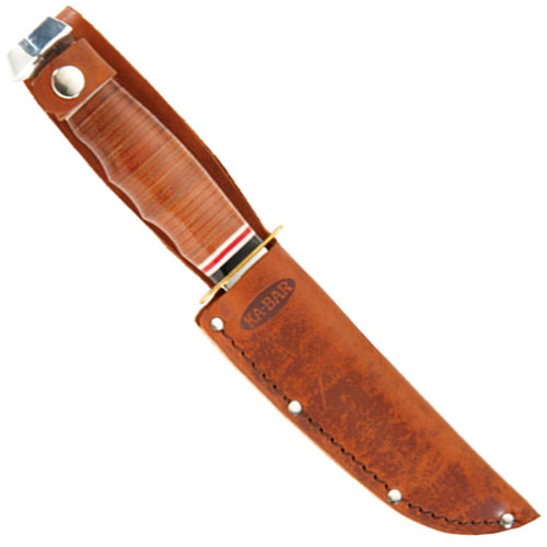 Ka-Bar Marine Hunter Stacked Leather Handle Fixed Blade Knife