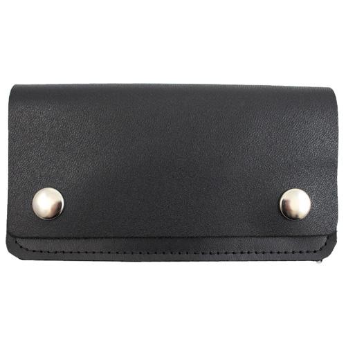 6 Inch Leather Biker Wallet - Black