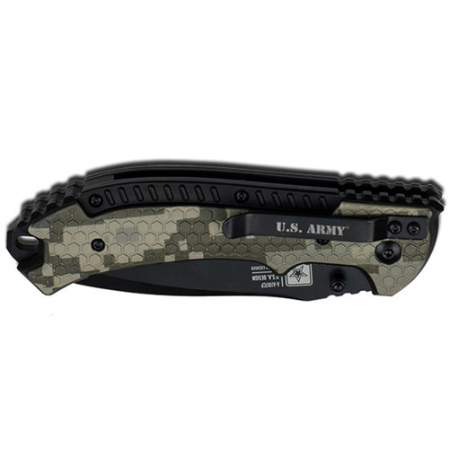 U.S. Army 5 Inch Spring Assisted Black Half Serrated Blade Folding Knife