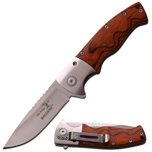 Elk Ridge Pakkawood Handle 4.5 Inch Spring Assisted Knife