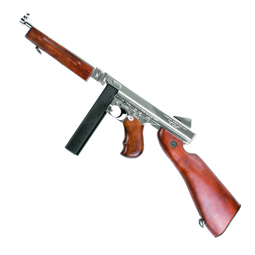 King Arms M1A1 HI Grade Silver Thompson Airsoft Rifle