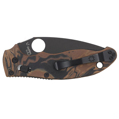 Spyderco Black and Brown Burled G10 Handle Folding Knife