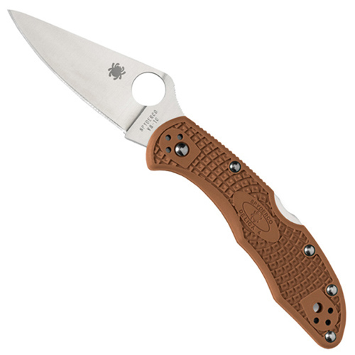 Delica Lightweight Brown FRN Flat Ground Plain Edge Folding Knife