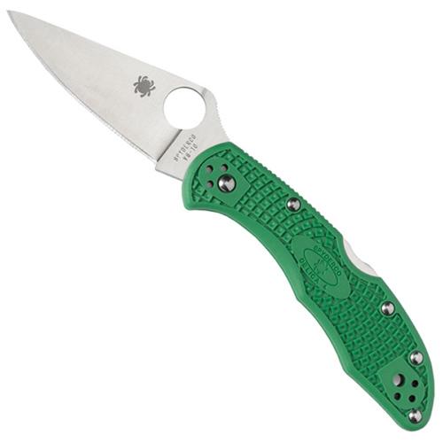 Delica Lightweight Green FRN Flat Ground Plain Edge Folding Knife