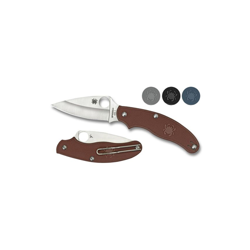 Spyderco UK Penknife Maroon FRN Leaf Blade Plain Edge Folding Knife
