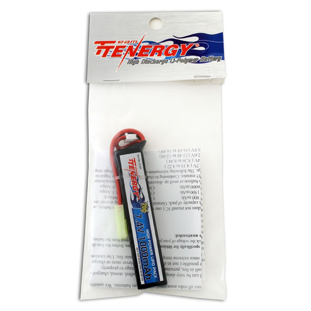 7.4V 1000mAh 20C Stick Buffer Tube Size Battery