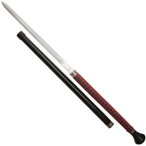 United Cutlery  Black Red Damascus Forged Ball Sword Cane