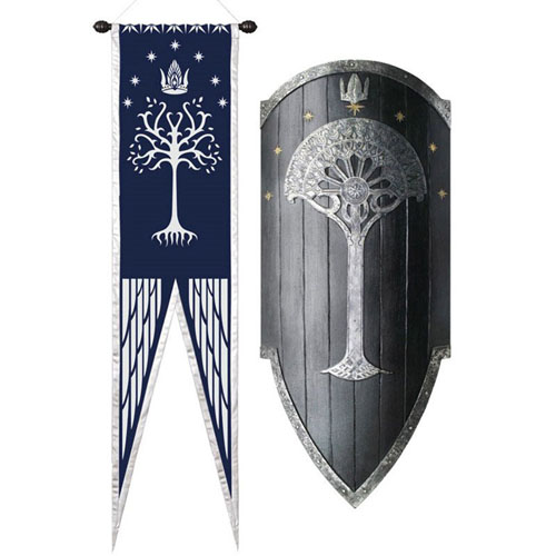 United Cutlery Lotr Shield Of Gondor With Flag