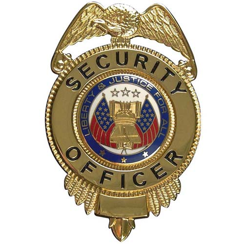 Security Officer Badge With Flags