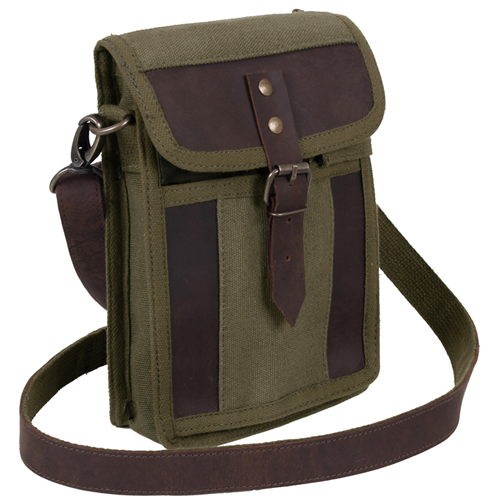 Canvas Travel Portfolio Bag With Leather Accent