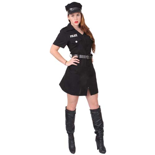 Womens Black Police Costume
