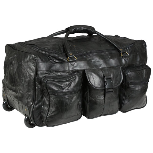 Leather Patchwork Wheeled Duffle Bag