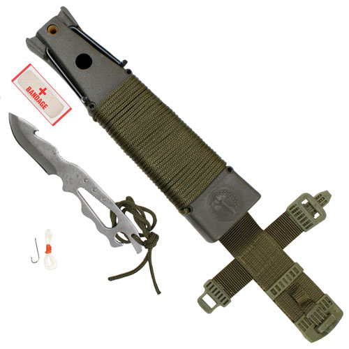 Deluxe Jungle Olive Drab Survival Kit Knife