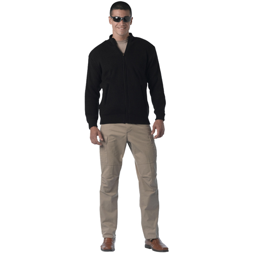 Mens Reversible Zip Up Acrylic Commando Sweater