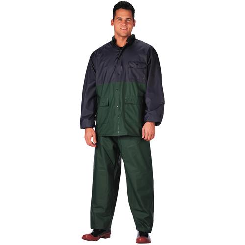 Mens 2 Piece Navy & Green Pvc Rainsuit