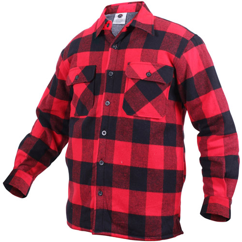 Mens Extra Heavyweight Buffalo Plaid Sherpa-Lined Flannel Shirts