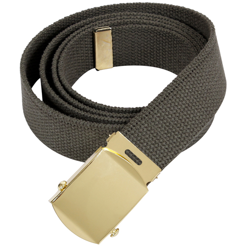 64 Inch Military Color Web Gold Buckle Belts