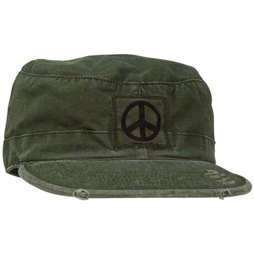 Vintage Rip-Stop Black Peace Sign Fatigue Cap