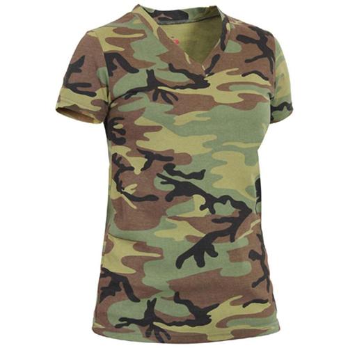 Womens Long Length Camo V-Neck T-Shirt