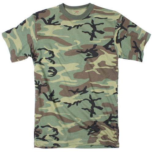 Mens Woodland Camo Extra Long Length T-Shirt
