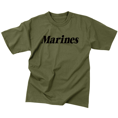 Mens Marines Olive Drab Military Physical Training T-Shirt