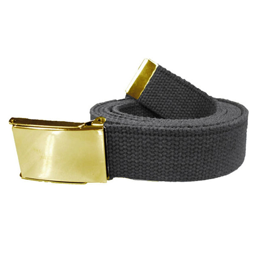 Military Black Web Belts with Flip Gold Buckle