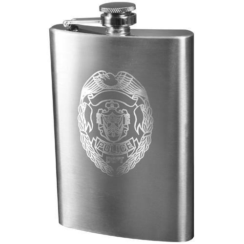 Police Engraved Stainless Steel Flasks