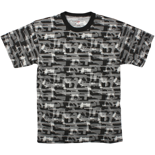 Mens Vintage Black Faded Guns T-Shirt