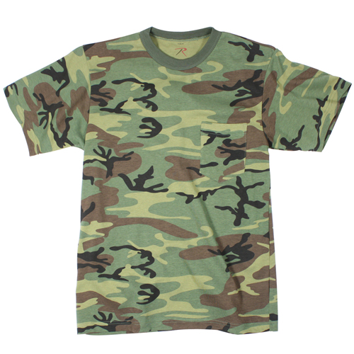 Mens Woodland Camo T-Shirt with Pocket