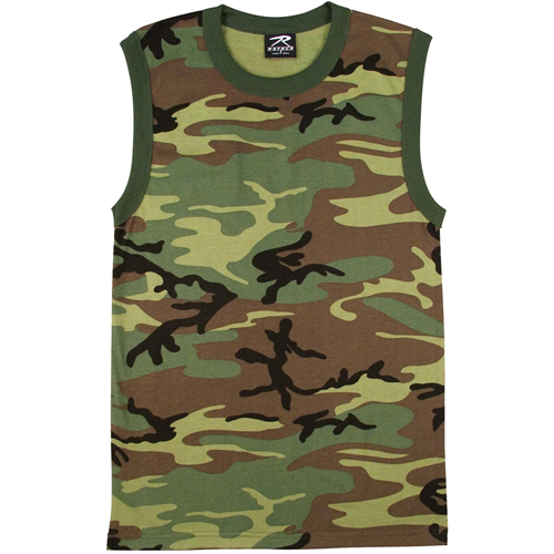 Mens Woodland Camo Muscle Shirt