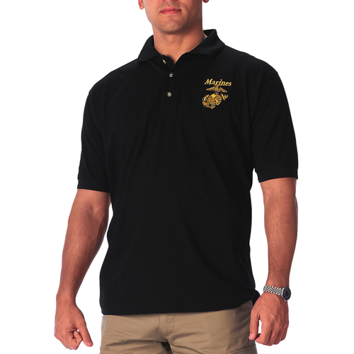 Mens Military Embroidered Marines Polo T-Shirt