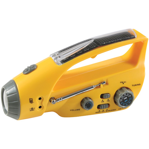 Solar-Wind Up Flashlight with Radio