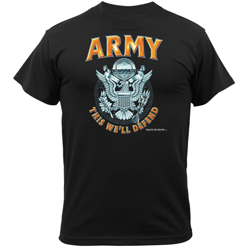 Mens Black Army Emblem T-Shirt