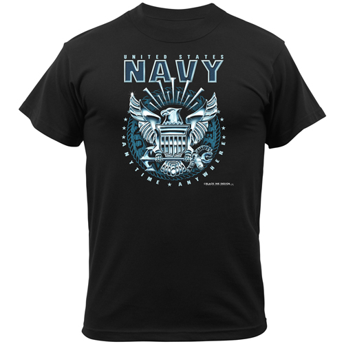 Mens Black Ink Black Navy Emblem T-Shirt