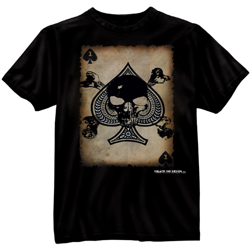 Mens Black Ink Death Card T-Shirt