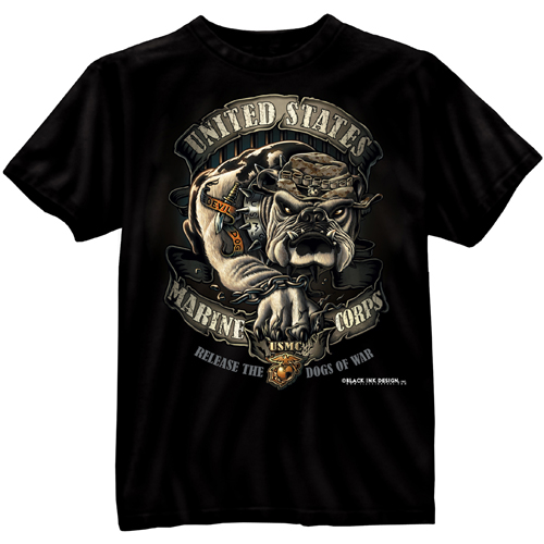 Mens Black Ink U.S.M.C. Bulldog T-Shirt
