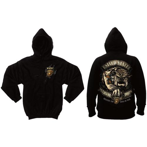 Mens Black Ink U.S.M.C. Bulldog Hooded Pullover Sweatshirt