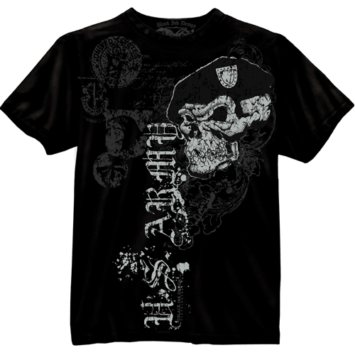 Black Ink U.S. Army Skull with Beret T-Shirt